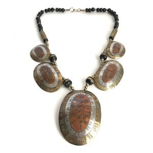 Vintage Statement Necklace Bohemian Beaded Copper